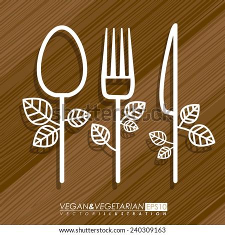 Food design over brown background, vector illustration - stock vector