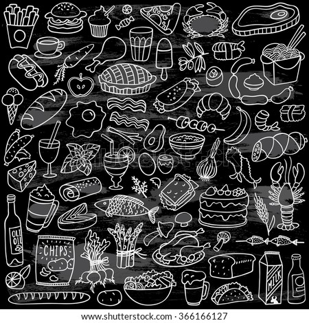 food doodles set on chalkboard - stock vector