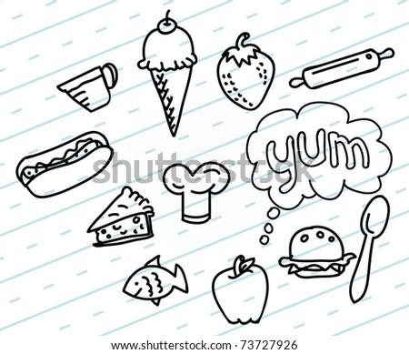 Food Drawings - stock vector