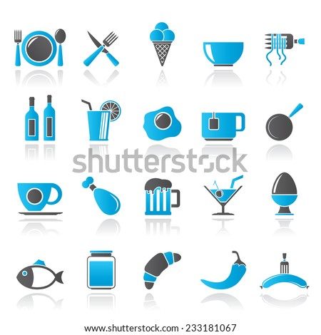 Food, drink and restaurant icons- vector icon set - stock vector