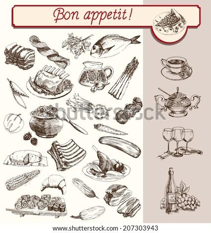 food drinks fruit vegetable set handmade sketches - stock vector
