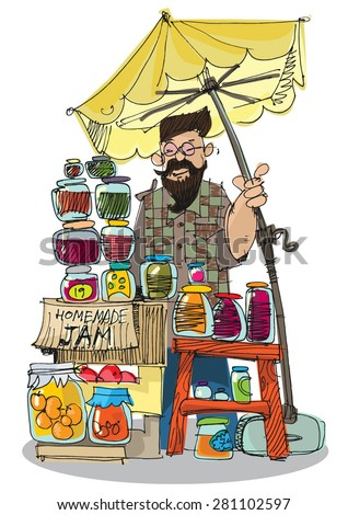 food festival, street market, homemade canning - cartoon - stock vector