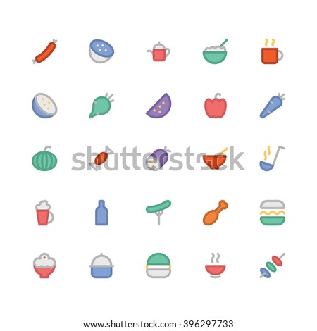 Food flat bold Vector Icons 10 - stock vector