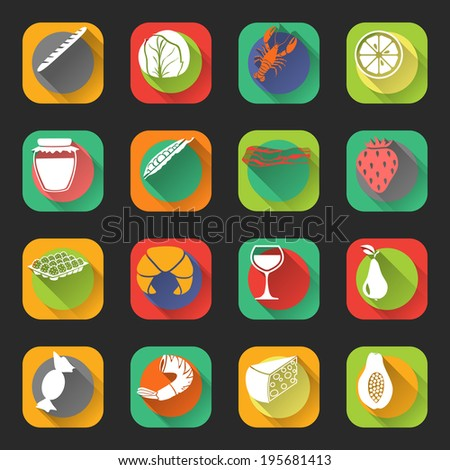 Food flat icons set of cabbage jam jar eggs wine glass isolated vector illustration - stock vector