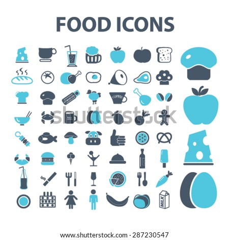 food, grocery, meat, eggs, bread, vegetables, milk, pizza, restaurant icons, signs, illustrations set, vector - stock vector