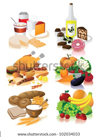 Food Groups EPS 8 vector, grouped for easy editing. No opens shapes or paths. - stock vector