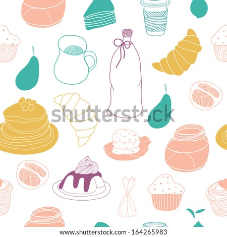 Food hand drawn seamless background - stock vector