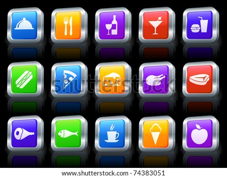 Food Icon on Square Button with Metallic Rim Collection Original Illustration - stock vector