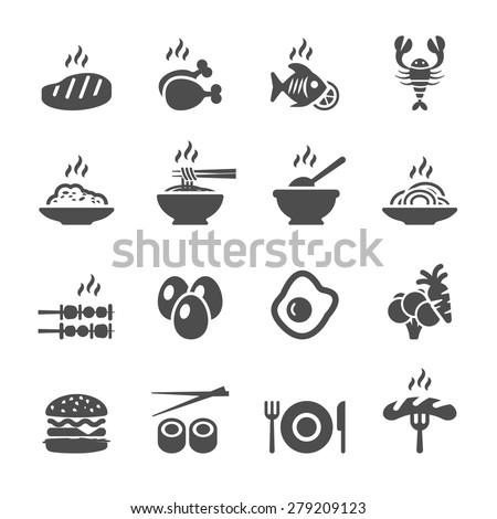 food icon set, vector eps10. - stock vector