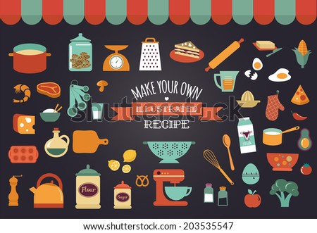 Food icons and illustrations - vector collection. Make your own illustrated recipe card - stock vector