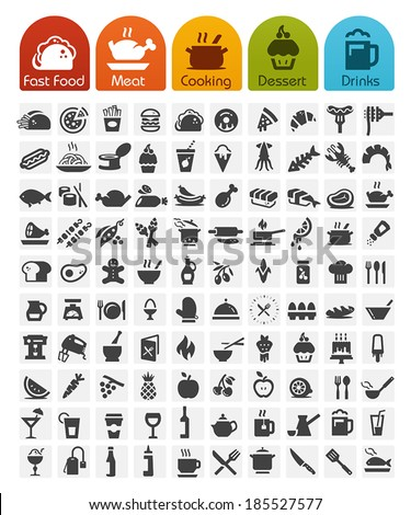 Food Icons bulk series - 100 icons - stock vector