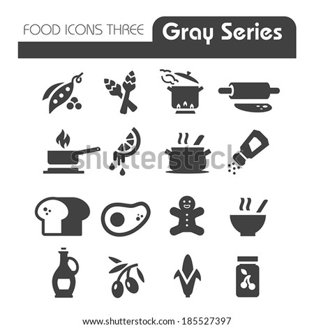 Food Icons Gray Series Three - stock vector
