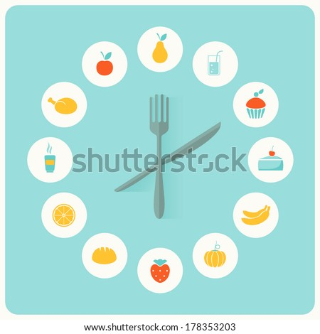 Food Icons Infographic Clock. Flat Design. Fitness, Diet and Calorie Counter Concept - stock vector