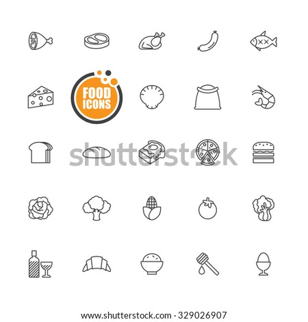 Food icons line set - stock vector