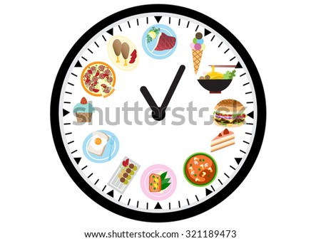 food icons on a clock , food design - stock vector