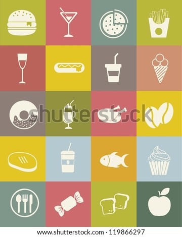 food icons over vintage background. vector illustration - stock vector