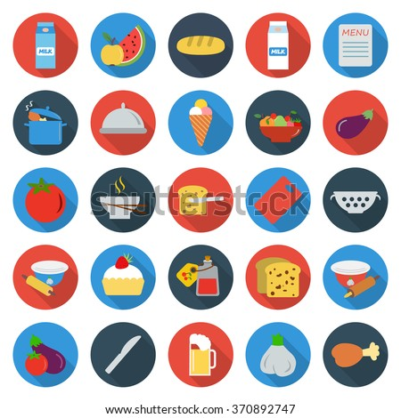 Food icons set. Food icons flat. Food icons. Food set app. Food set vector. Food set eps. Food icons color. Food icons sign. Food icons art. Food set. Food set logo. Food set web. Food set UI. Food. - stock vector