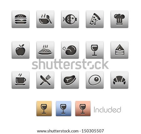 Food Icons - Set 1 // Metallic Series - It includes 4 color versions for each icon in different layers.  - stock vector