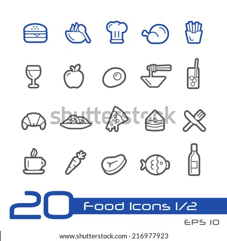Food Icons - Set 1 of 2 // Line Series - stock vector