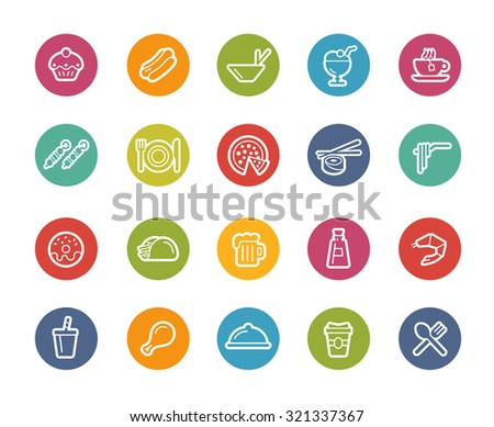 Food Icons - Set 2 of 2 // Printemps Series - stock vector