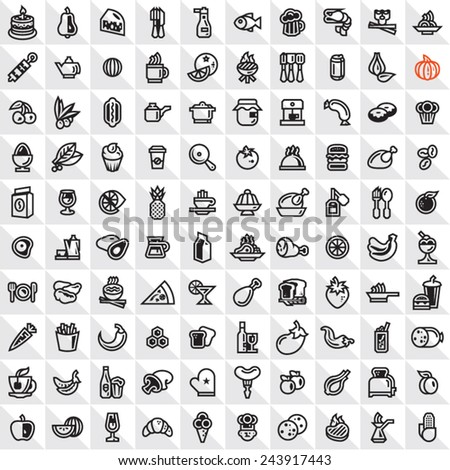 Food icons set. Outline food icons. - stock vector