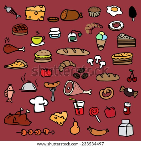 Food icons vector drawings drawn by hand in color. - stock vector