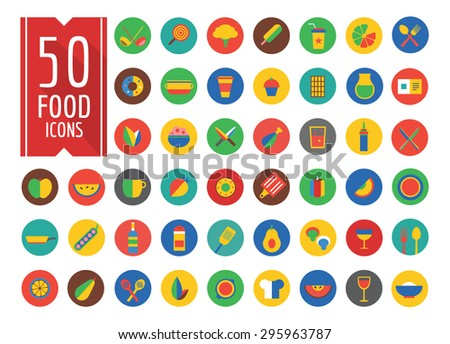 Food Icons vector set. Fruit, kitchen, food and drinks, meat, cup, eating,a fork, spoon, vegetables, pot, natural food, vegan food, milk, soup, wine, chef hat, coffee cup. Vector icons. - stock vector