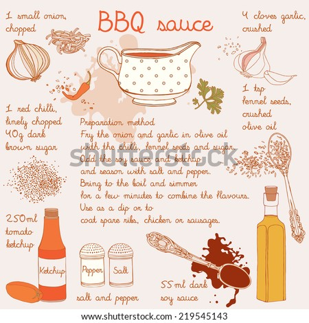 Food illustrations collection, food ingredients, barbecue sauce recipe. - stock vector