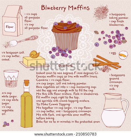 Food illustrations. Food ingredients. Blueberry muffins recipe. Vector. - stock vector