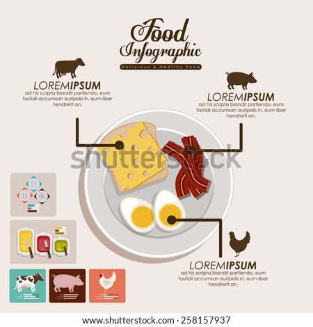 Food infographic design, vector illutration - stock vector