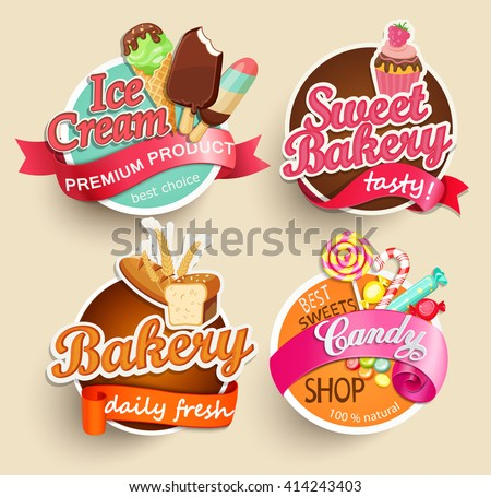 Food Label or Sticker - bakery, ice cream, candy, sweet bakery - Design Template. Vector illustration. - stock vector