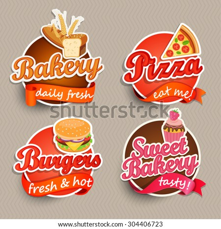 Food Label or Sticker - bakery, pizza, burger, sweet bakery - Design Template. Vector illustration. - stock vector