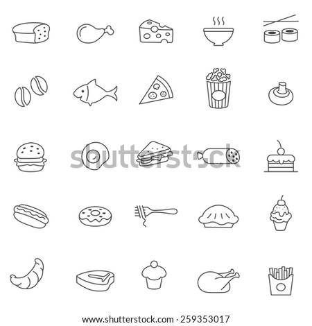 Food  line icons set.Vector - stock vector