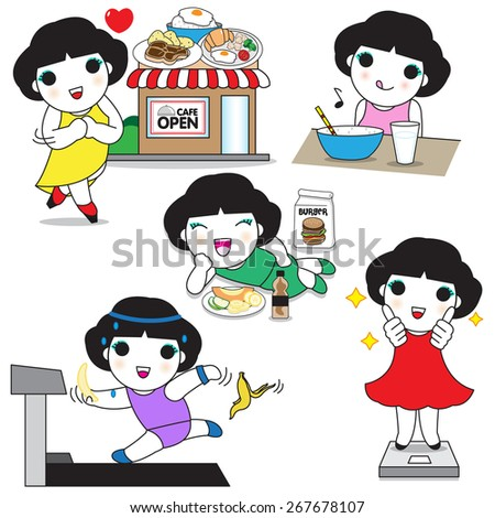 Food Lover's Diet character illustration - stock vector