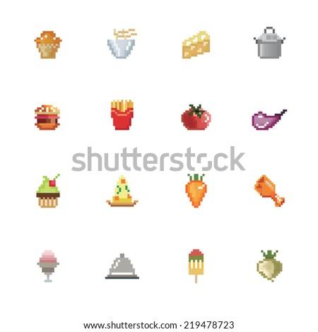 Food Pixel Icons - stock vector