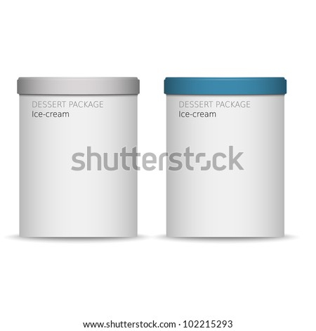 food plastic container , dessert, yogurt, ice-cream - stock vector
