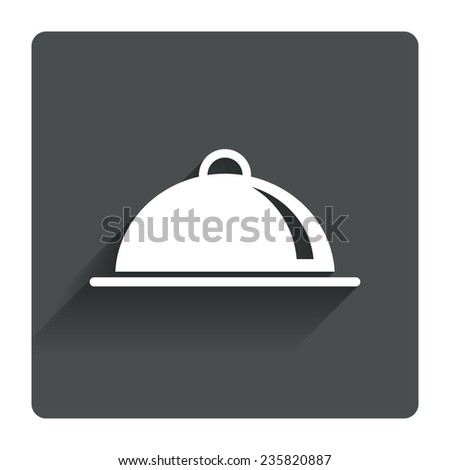 Food platter serving sign icon. Table setting in restaurant symbol. Gray flat square button with shadow. Modern UI website navigation. Vector - stock vector
