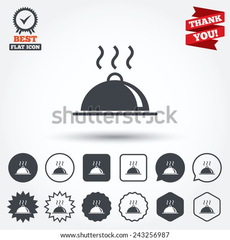 Food platter serving sign icon. Table setting in restaurant symbol. Hot warm meal. Circle, star, speech bubble and square buttons. Award medal with check mark. Thank you ribbon. Vector - stock vector