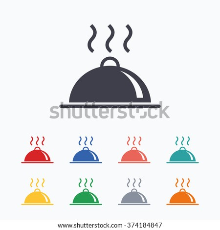 Food platter serving sign icon. Table setting in restaurant symbol. Hot warm meal. Colored flat icons on white background. - stock vector