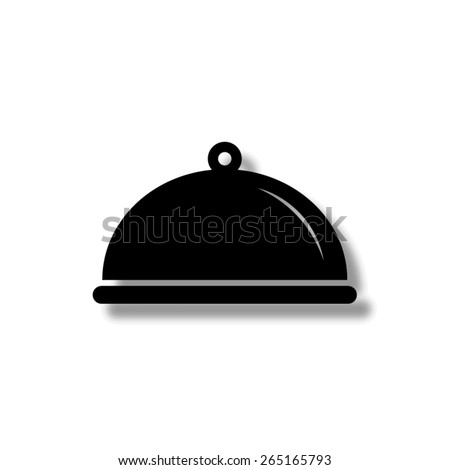 Food platter serving sign  - vector icon with shadow - stock vector