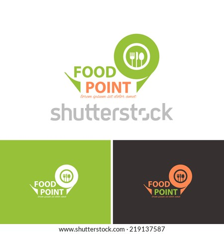 Food Point Vector Icons, Logos, Sign, Symbol Template  - stock vector