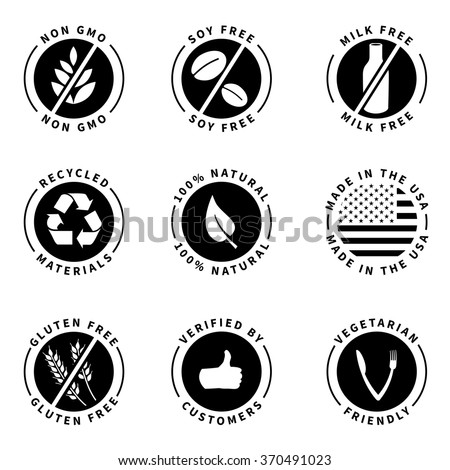 Food product badges collection 1. (100% Natural, Gluten free, non GMO, Soy free, Milk free, Verified by customers, etc...) - stock vector