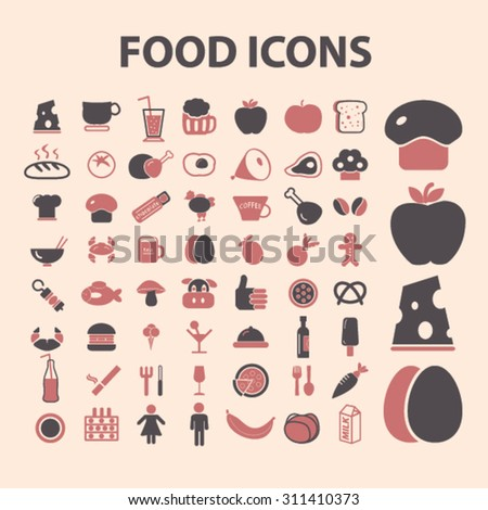 food, restaurant icons, signs, illustrations set, vector - stock vector