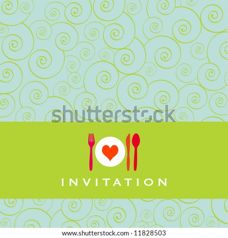 Food - restaurant - menu design with cutlery silhouette and background with curls - stock vector