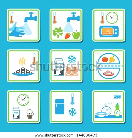 Food Safety Rules Infographics. Healthy Eating Habits. EPS 10 Vector - stock vector