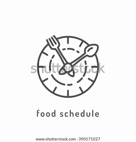 Food schedule icon. Healthy diet icon, healthy dieting icon, rational nutrition icon, slimming loss weight, healthy lifestyle, balanced diet eating, organic food, vegetarian food, healthy diet concept - stock vector
