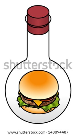 Food science concept: a hamburger in a round bottom lab flask. - stock vector