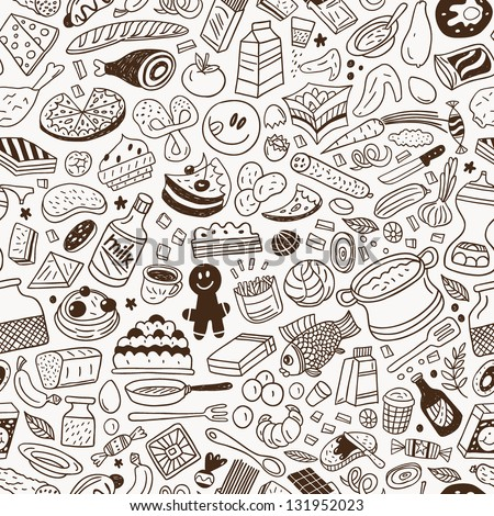 food - seamless pattern - stock vector
