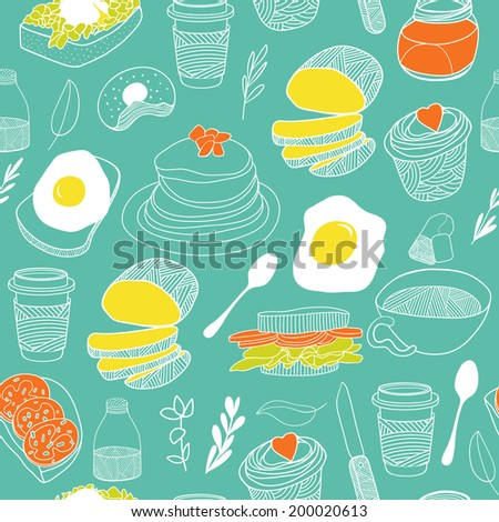 Food seamless pattern. Hand drawn vector background. Good for kitchen and cafe stuff - stock vector