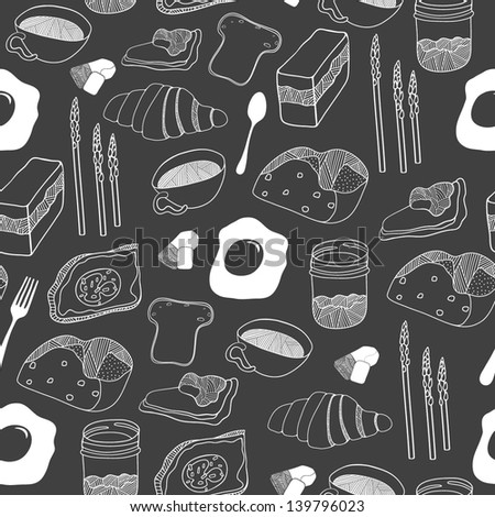 Food seamless pattern. Hand drawn vector illustration - stock vector